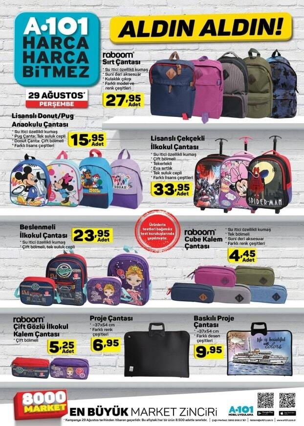 a101 kırtasiye ürünleri okul çantası