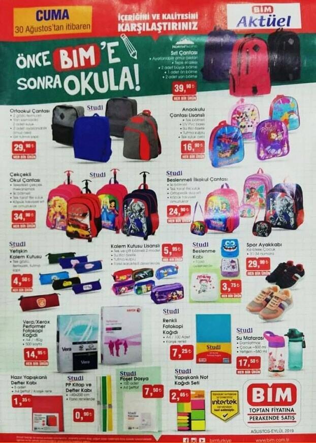 bim kırtasiye ürünleri okul çantası